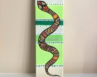 Snake painting, 4x12 inch acrylic art for home or office