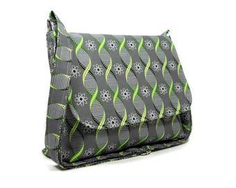 Gray Messenger Bag, Science Print Purse, Geek Crossbody Bag, Fabric Cross Body Bag, Cotton Pocketbook, Double Helix Handbag, Gray Green Bag