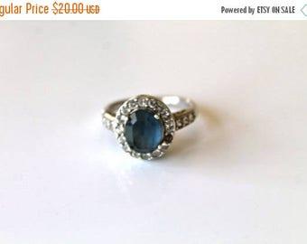 20% off SALE vintage sterling silver imitation sapphire ring - SEPTEMBER birth stone rhinestone / size 9