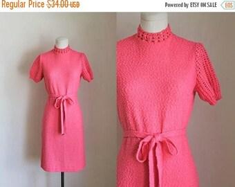 AWAY SALE 20% off 50 Percent OFF...last call // vintage 1960s sweater dress - Heartbreaker pink crochet dress / s-m