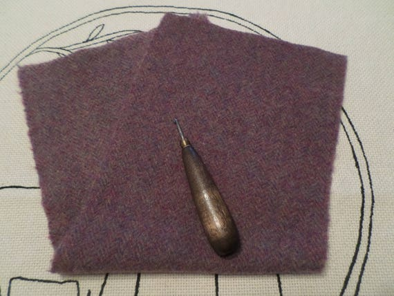 Purple Herringbone Mill Dyed Wool, rug Hooking, Applique, Penny Rugs, Fiber Arts