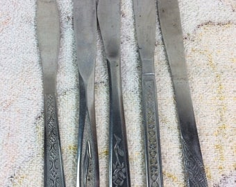 20% SALE Lot of 5 Stainless Steel Vintage Flatware Knives Japan Retro Cutlery Serving