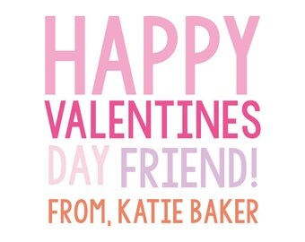 Friend Valentine Pink, Valentine's sticker, Square Stickers, Personalized Stickers, Custom Stickers, Name Stickers, holiday stickers