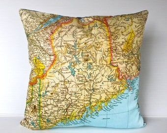 SALE SALE SALE cushion cover pillow Maine State vintage map  organic cotton,   16 inch, 41cm