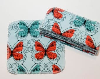 Beautiful Butterflies Cloth Wipes - Baby Wipes - Flannel Bathroom Wipes- Eco Friendly Napkins - Reusable Wash Cloth - 2 Ply - 10 Count