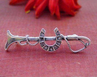 Classic Horseshoe in Crop Pin Brooch English Riding Stock Pin Sterling Silver,Equestrian Jewelry,Horse Jewelry