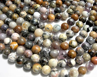 Amethyst Sage Agate - 8 mm round - 1 full strand - 48 beads - USA MINED - Dendritic Amethyst Sage - RFG1544