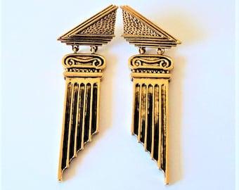 Vintage Greek Column Earrings... Long Drops... Theatrical Statement... Signed