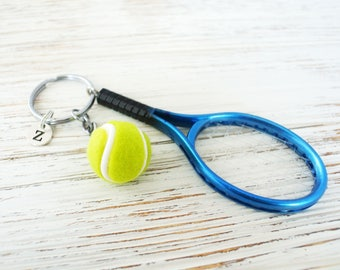 Personalized tennis racket keychain gift for him-Custom keychain for tennis player gift-Sports keychain-Initial jewelry for tennis team gift