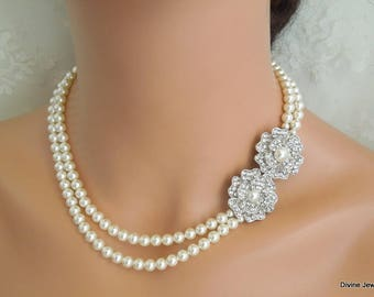 Pearl Necklace Bridal Pearl Necklace White Swarovski Pearls Bridal Rhinestone Necklace Pearl and Rhinestone Necklace Bridal Necklace LARA