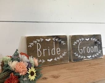 Bride and Groom Signs for Chairs - Bride and Groom Sign - Rustic Wedding Sign - Wedding Photo Prop Sign - Boho Wedding