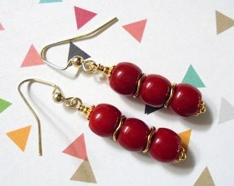 Red Coral Earrings (3646)