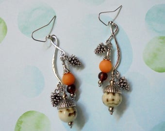 Brown, Orange and Silver Autumn Acorn and Pinecone Earrings (4003)