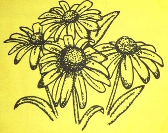 Black Eyed Susan Fabric Poly/Cotton Hot Diggity Dog Fabrics Novelty Fabric