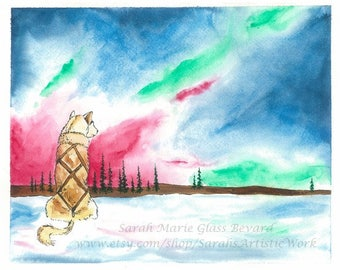 Watching the Lights Print of Original Watercolor by Sarah Marie Glass Bevard Dogsled Art Dogsledding Alaska Northern Lights