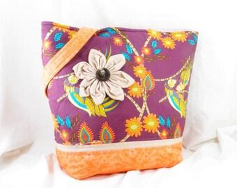 Shoulder Bag, Large Aviary Tote, Fabric Flower, Purple Parrots, Flock Together, Free Spirit, Handmade Library Bag, Large Tote Bag