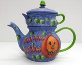 Purple Halloween Tea Pot, Bubble Bubble, Witches Brew, Jack-o-Lanterns, Hand Painted, Small Tea Pot, Tole Painted, Halloween Pumpkins