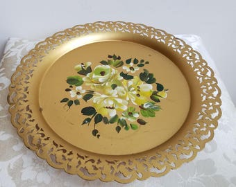 Vintage Metal Tray Gold Round by Nashco Nash Co., Hand Painted Tole Flowers Off White Green Floral, Reticulated Filigree FABULOUS