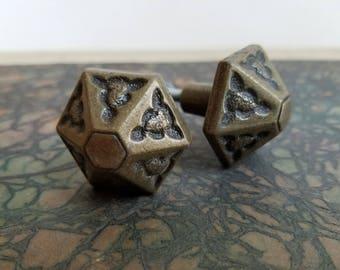 Vintage Brass Drawer Pulls Knobs Hexagon Starburst Pair Set of Two, Arts & Crafts Style