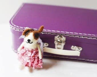 Large Purple Paper Suitcase with Felted Animal
