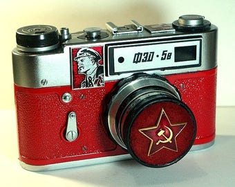 Red USSR FED-5B camera vintage Russian Leica in box -=Lenin=-