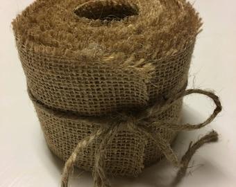 """2"""" Wide X 3 Yards (108"""") Long Handmade Burlap Ribbon"""