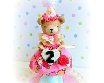 Bear Cake Topper, Teddy Bear 2nd Birthday, Woodland Cake Topper, Baby Bear Birthday Cake Topper, First Birthday Girl, Baby Shower Topper