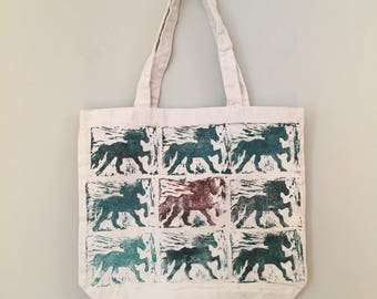 "Canvas Tote Bag, ""Adeline's Horses"" Linoleum Block Print, hand printed, Teal and Red, one of a kind"