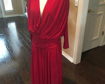 ON SALE NOW 80s 90s rich red Draped dress / jersey deep plunge dress / size s m / neiman marcus vintage