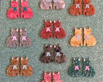 Mini Kitty Brooch Set Or Cardigan Clip - Choose a colour and chain