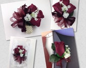 New Artificial Burgundy Rose Corsage, Burgundy Rose Mother's Corsage, Burgundy Corsage, Burgundy Wedding Flowers