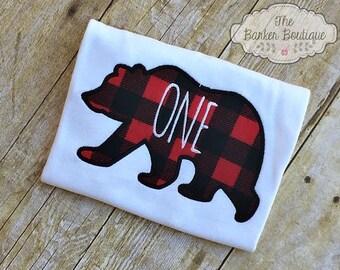 Bear Birthday Shirt Buffalo Plaid Lumberjack Woodland First Birthday Shirt Theme