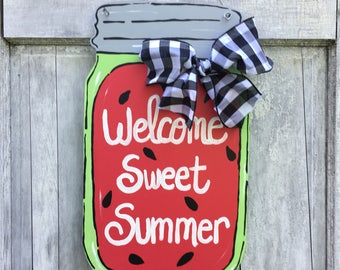 Mason jar door hanger, Welcome Y'all sign, watermelon door hanger,  Summer door hanger, Mason jar welcome sign, summer sign