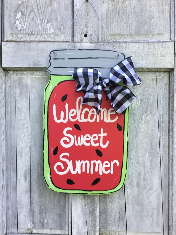 Mason jar door hanger, Welcome Y'all sign, watermelon door hanger,  Summer door hanger, Mason jar welcome sign, summer sign