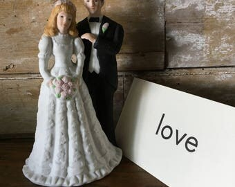 Vintage Wedding Bride and Groom  Cake Topper  Lovely Shabby Chic Piece 1970's
