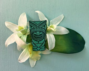 Green Tiki Orchid Hair Flower - Hawaiian Hair Clip - Pinup Flower - Rockabilly Flower - Tropical Hair Clip