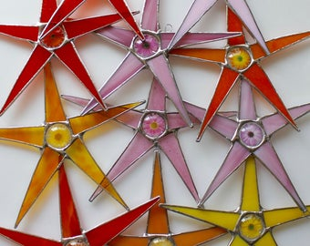 Floret Flower- 7 inch art glass star with lacquered paper flower center under glass