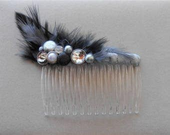 Black Gray Comb, Feather Combs, 1920 Style Rhinestone Headpiece, Gatsby Feather Combs, Wedding Combs 1920s