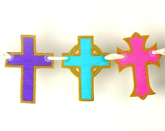 """Cross Banner ITH Project Machine Embroidery Design Applique Pattern 2 variations in 5 sizes 4"""", 5"""", 6"""", 7"""" and 8"""""""