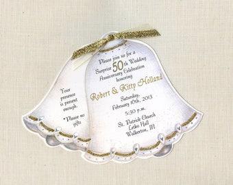 60 | 50th Wedding Anniversary | Party Invitations | Golden Anniversary | Wedding Bell Invitations | Personalized | Printed | Sara Jane