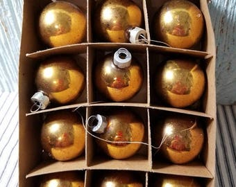 Yearly Big Sale: Lot of Vintage Small Gold Mercury Glass Ball Christmas Tree Ornaments by Franke, Wreath Crafting Supply, Retro Holiday