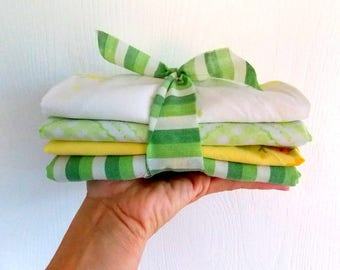 Vintage Sheet Bundles / Fat Quarters / Yellow & Greens / Pack of 4 / Quilting Fabrics