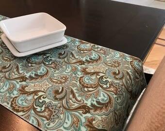 Blue Table Runner   Paisley Table Runner   Teal   Blue Table Topper   Thanksgiving Table Runner   Fall Table Runner   Aqua Centerpiece Decor