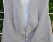"Men's 19th century natural linen vest, summer weight, 2X-Large, chest 50-52"", 1845-1860s style"
