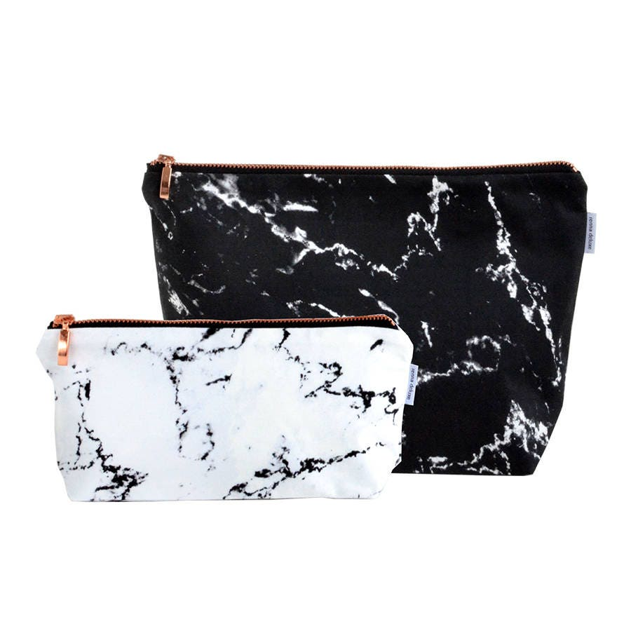 Marble Toiletry Bag Black White Marble Rose Gold Zipper