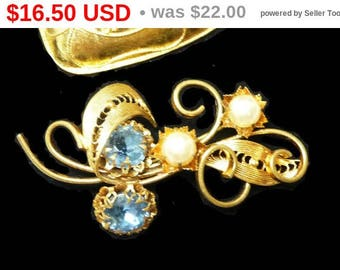 Western Germany Filigree Brooch with Blue Rhinestones - Floral Design with Leaves - Blue Flowers Pin - Vintage Mid Century Jewelry