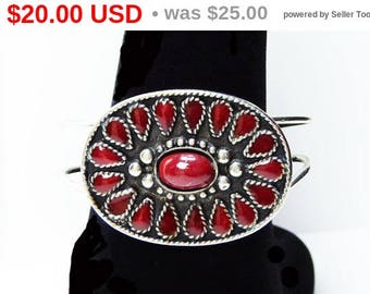 Silver Plated Bracelet - Red Glass Teardrop and Oval Cabs - Southwestern Style - Oval Cuff -  Vintage 1990's Unsigned Beauty