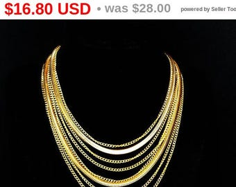 Summer Sizzler Sale Lisner Multi Chain Necklace - Goldtone Chains - Classic Chains - Designer Signed, Seven Chains - Bib style 1960's Vin...