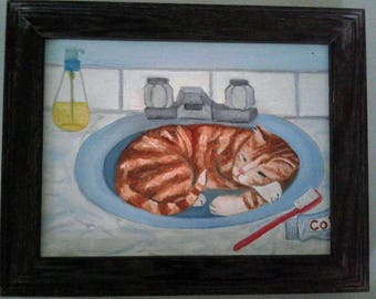 "Cat Nap in Sink Painting Cat Oil Painting Sleeping in Sink 6""X 8"" Canvas Board Framed to 7.6""X 9.6"" Wired Signed Ready to Hang Cat Lover"