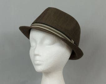 Brown Fedora Large Extra large Brown twill hat Men or women Pristine condition Hipster style Ribbon band Narrow brim